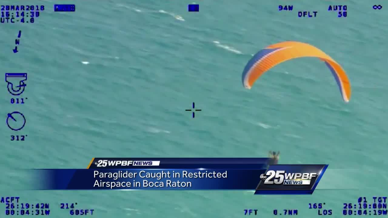 Paraglider caught in restricted airspace in Boca Raton