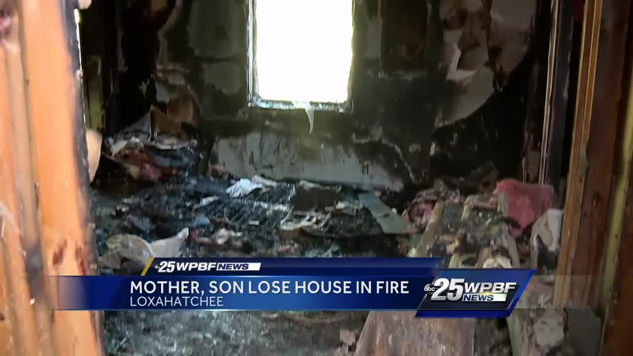 Mother and son displaced from house fire in Loxahatchee