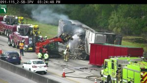 All lanes are open after tractor trailer fire shuts down NB lanes near Jupiter.