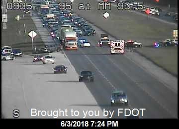 Traffic backed up on I-95 at MM92 in Martin County due to crash