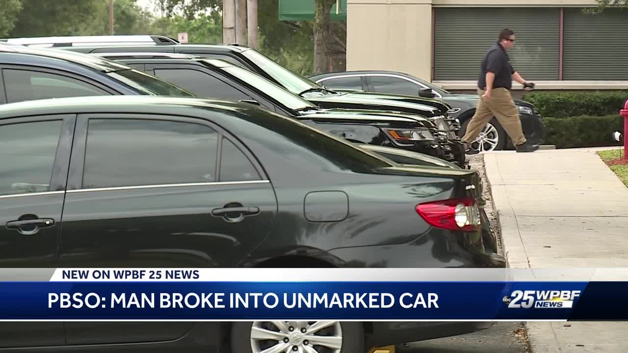 Man breaks into car at PBSO parking lot