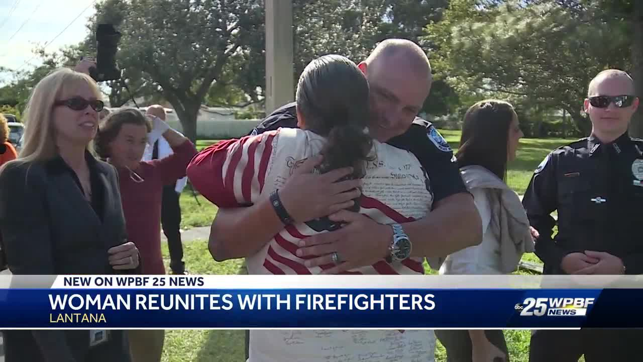 Woman rescued from house fire reunites with firefighters