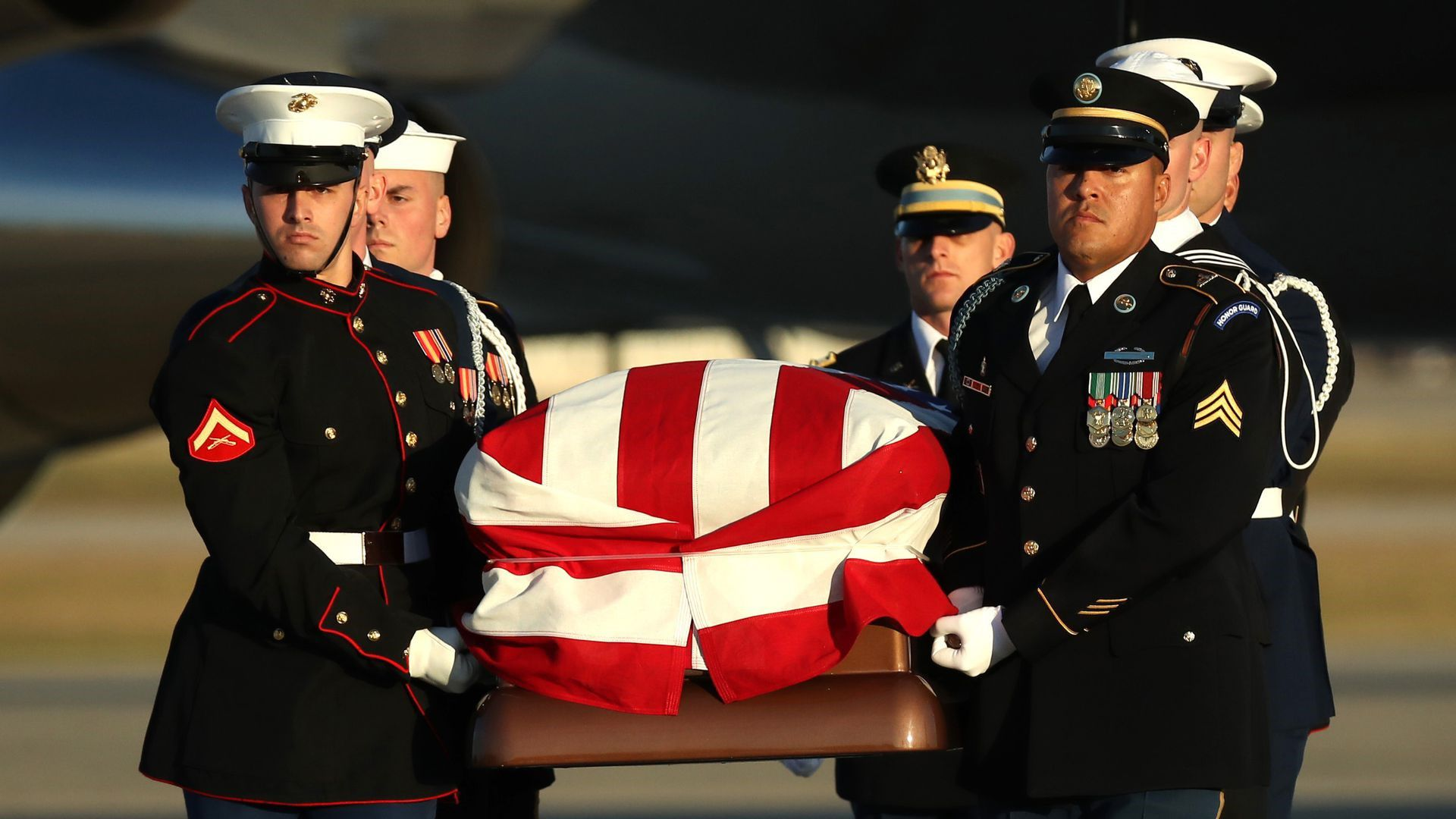 Wellington Marine helped escort casket at joint base Andrews for former President George H.W. Bush