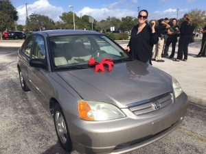 Woman gifted car by deputies who evicted her