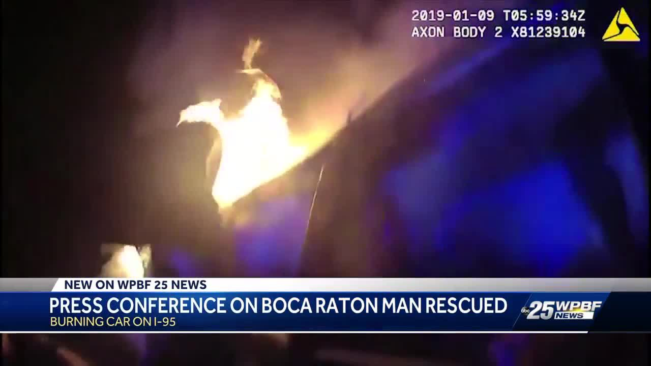 Men who rescued Boca Raton man from burning car speak out