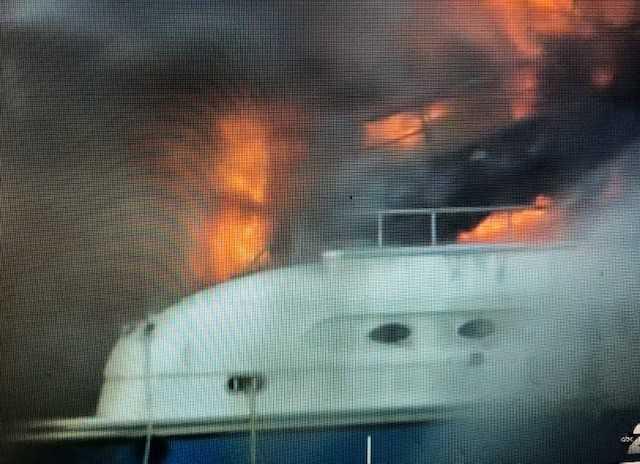 Yacht fire under control