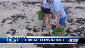 Blue baskets helping gather trash at beaches