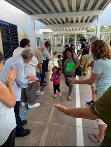 Dozens of adults greet student for first day of school in Palm Beach County