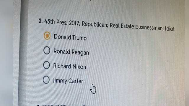 "Trump identified as an ""idiot"" in quiz question at Palm Beach Gardens school"