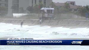 Huge waves causing beach erosion in Jupiter Beach