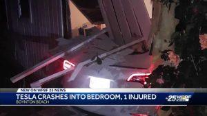 Tesla crashes into bedroom in Boynton Beach