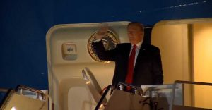 President Donald Trump arrives at Palm Beach Int'l Airport