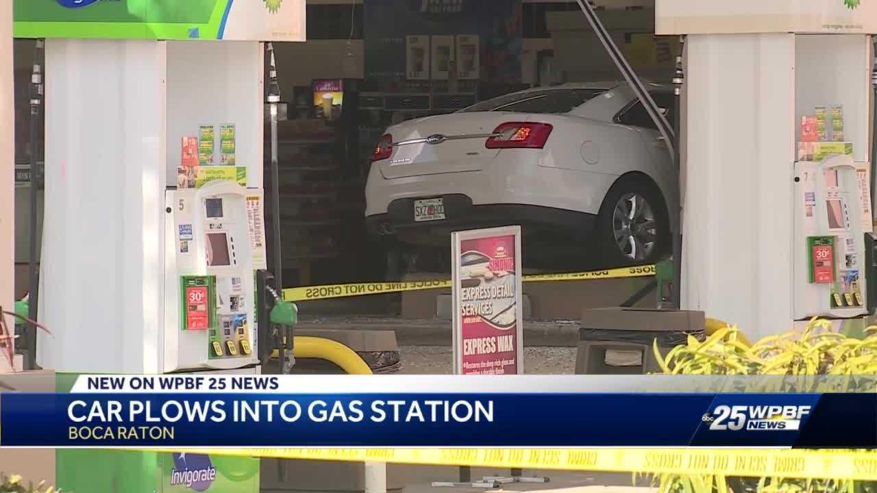 Car plows into Boca Raton gas station
