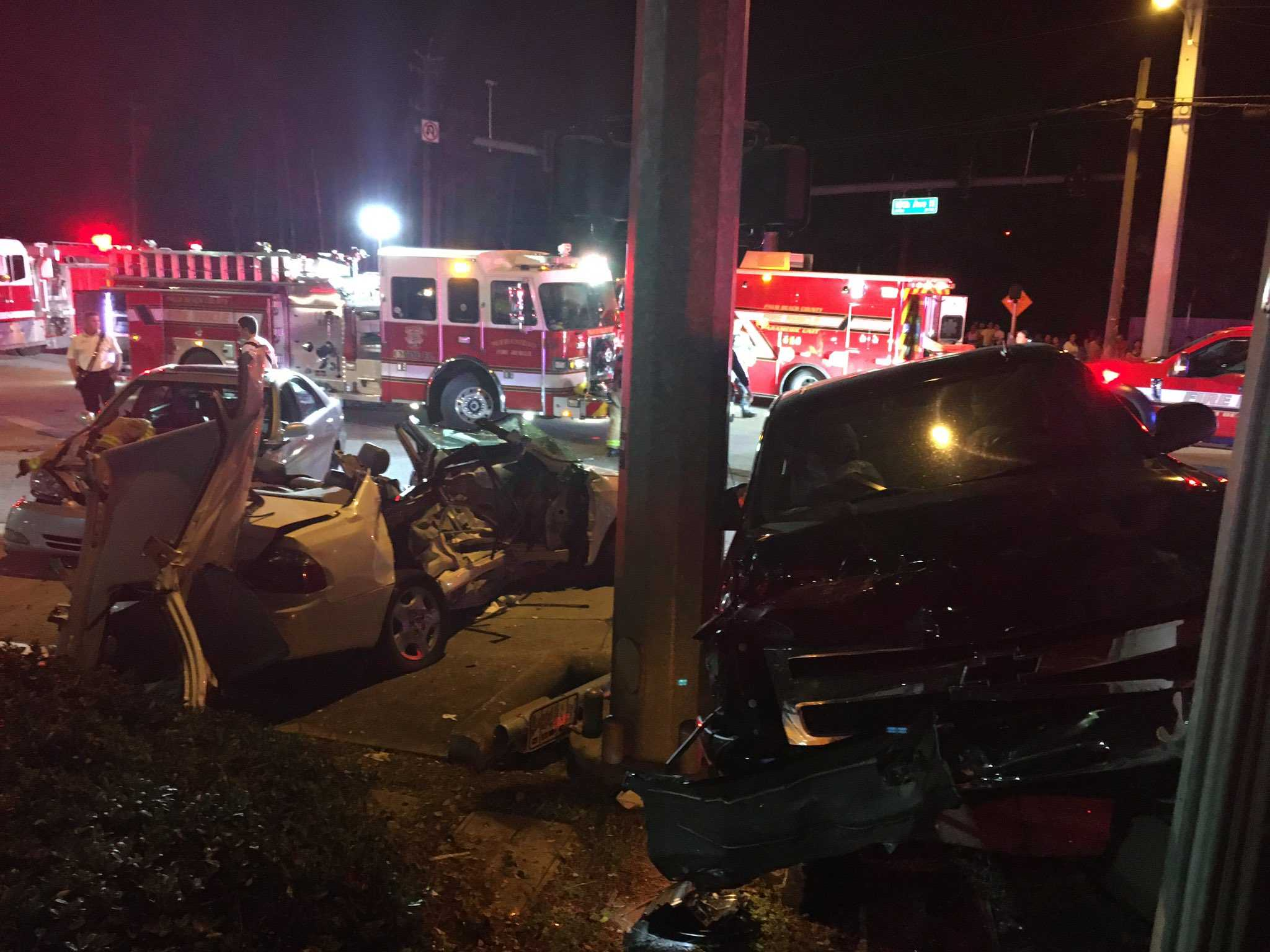 Six people hospitalized after crash on 10th Ave. North and Rudolph Road