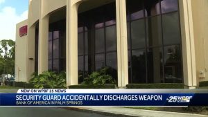 Security guard accidentally discharges weapon inside bank