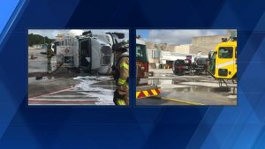 Overturned fuel truck at PBIA