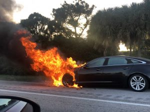 Car fire on I-95 in Palm Beach