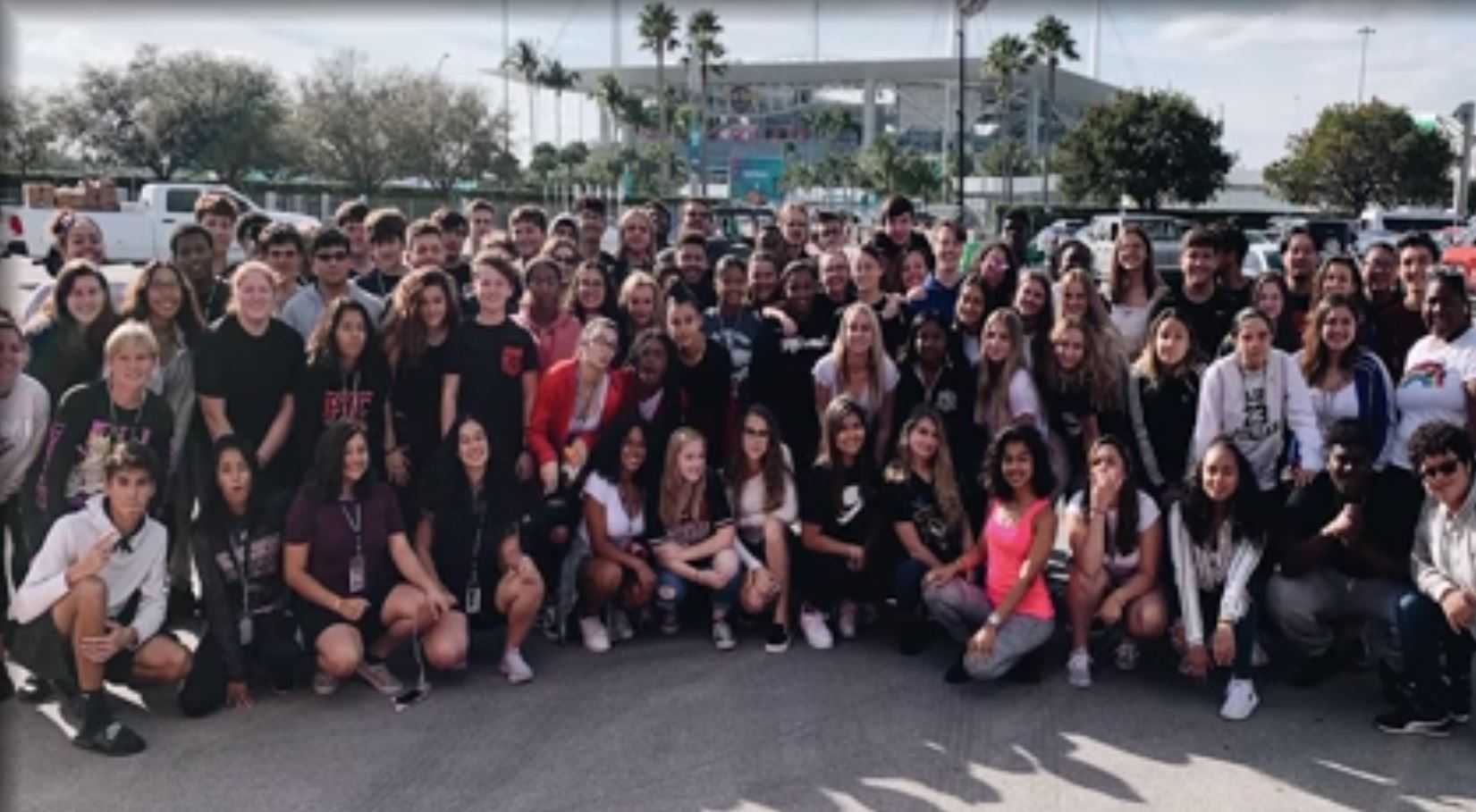 Palm Beach Central marching band helps out with Super Bowl halftime performance