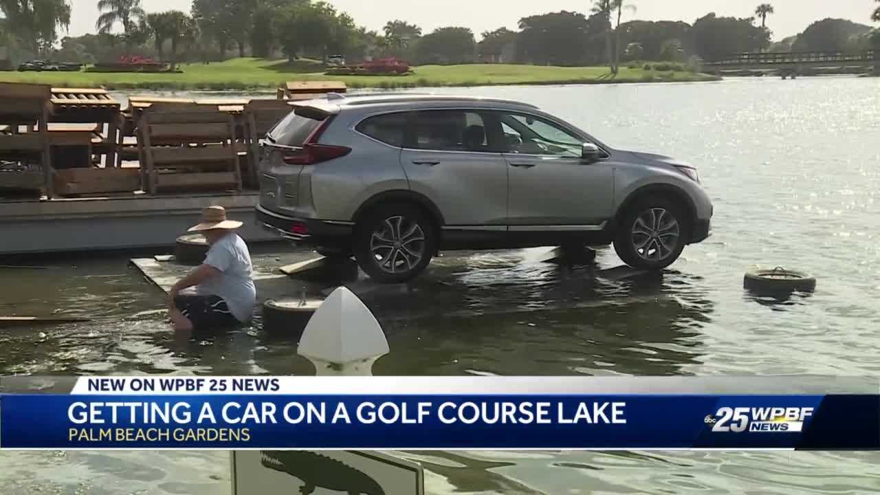 How officials get car on local golf course lake