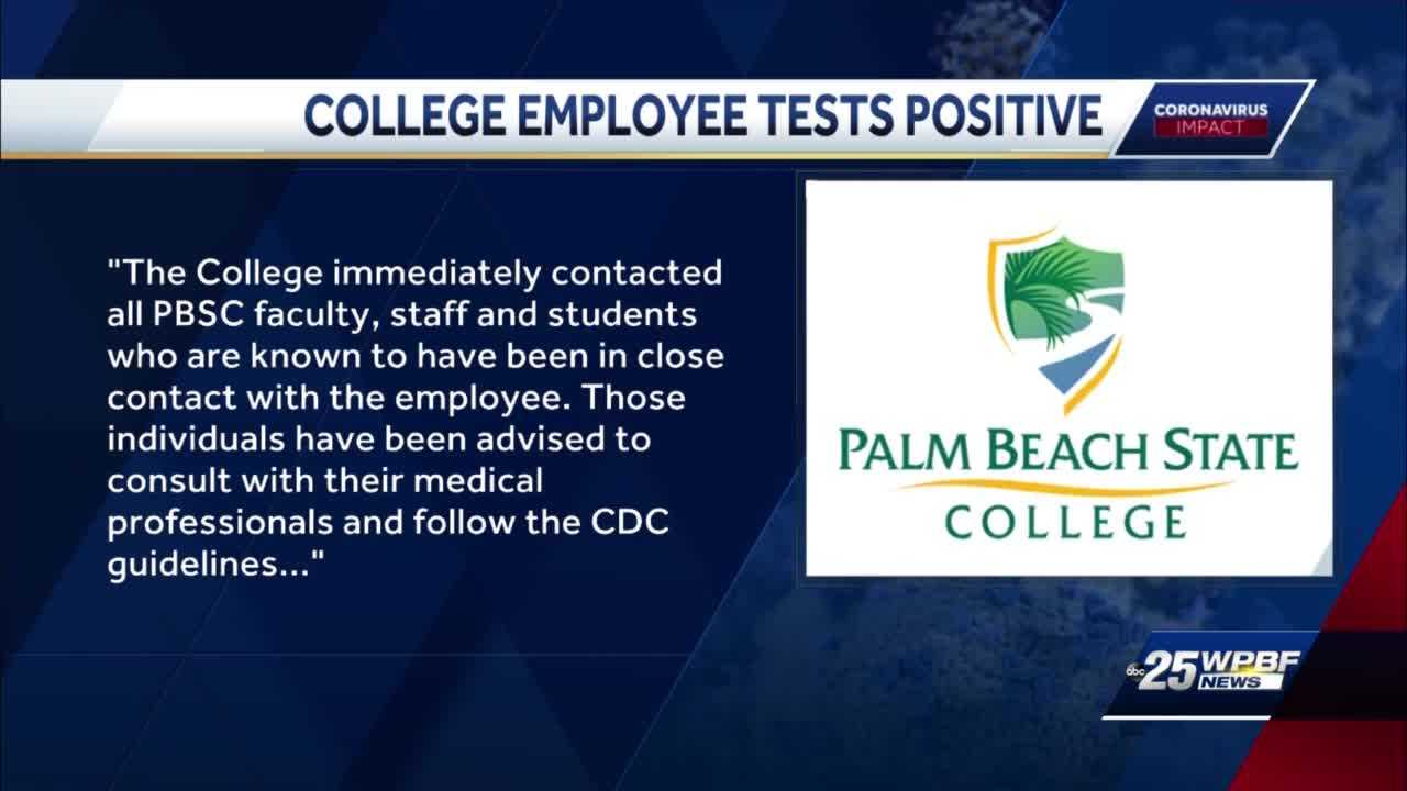 Palm Beach State College employee tests positive for COVID-19