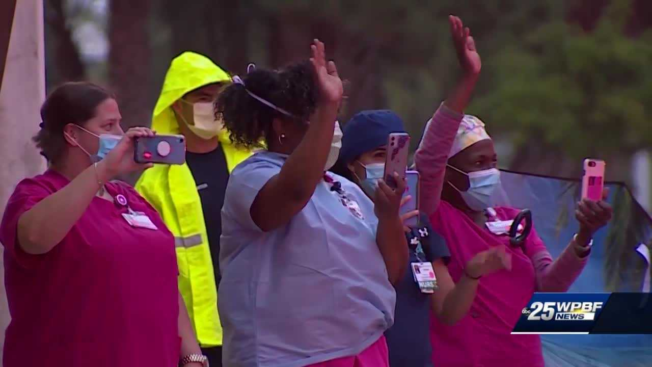 Emergency responders salute employees at Jupiter Medical Center amid COVID-19