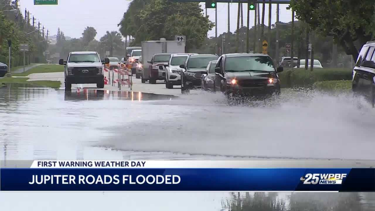 Flooded roads in Jupiter causing traffic headaches