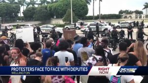 Deputies block protesters from continuing down busy Palm Beach County road for several hours