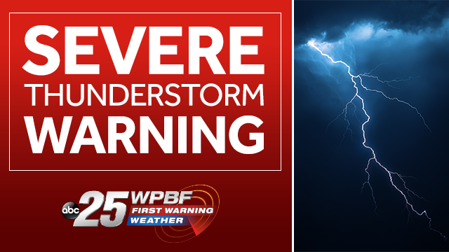 Severe thunderstorm warning issued for central Palm Beach County