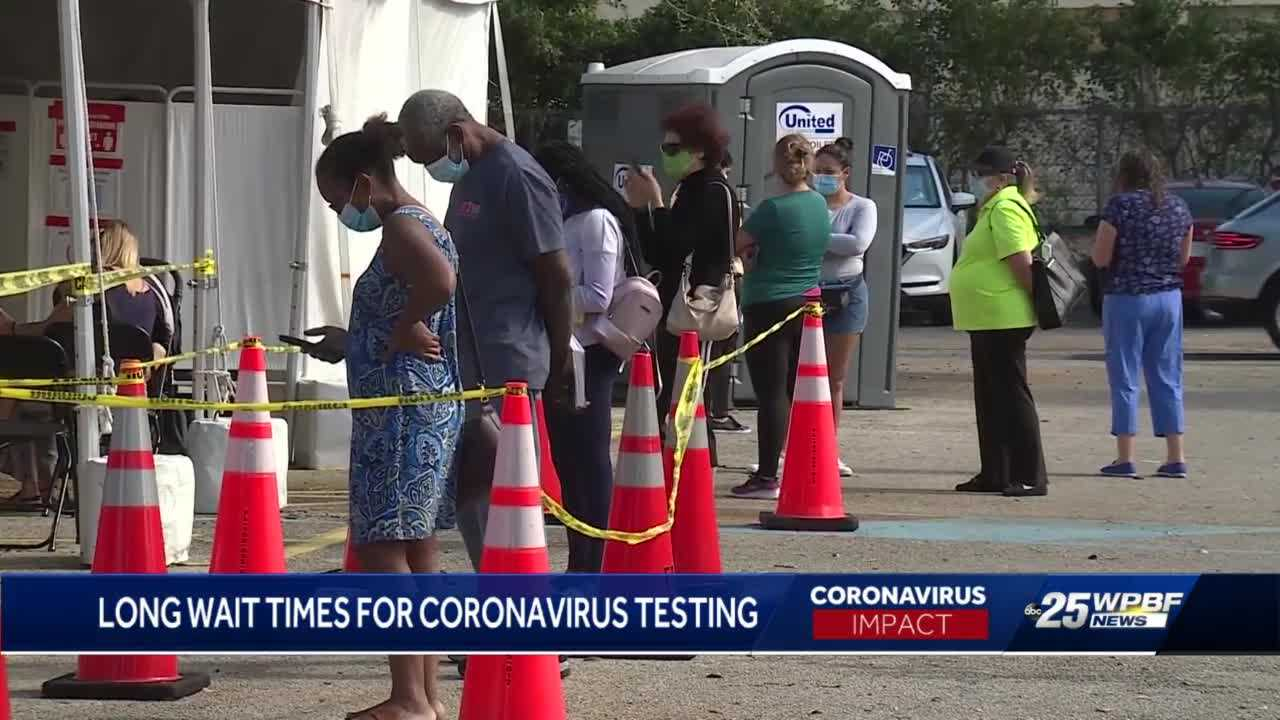 Long lines at Delray Beach testing sites after holiday weekend