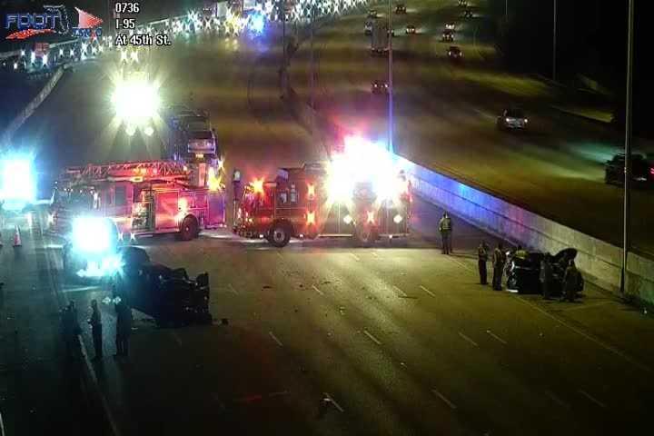Crash near 45th Street shuts down I-95 northbound lanes