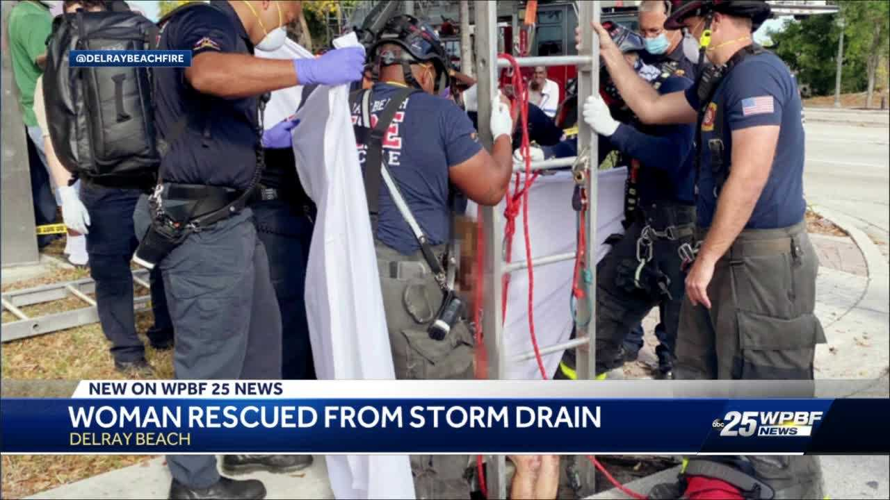Woman rescued from Delray Beach storm drain