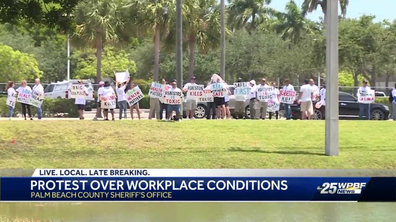 Employee's at PBCSO headquarters protest claiming asbestos health issues