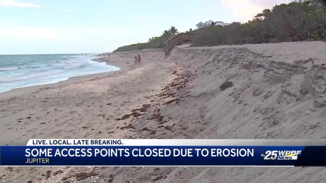 Beach erosion closed two Jupiter crossovers