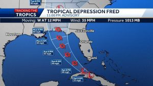 Tropical Depression Fred continues toward Florida Keys