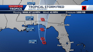 Fred strengthens to a Tropical Storm