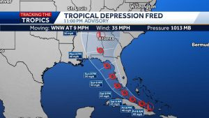 Tropical Depression Fred slows down off the coast of Cuba