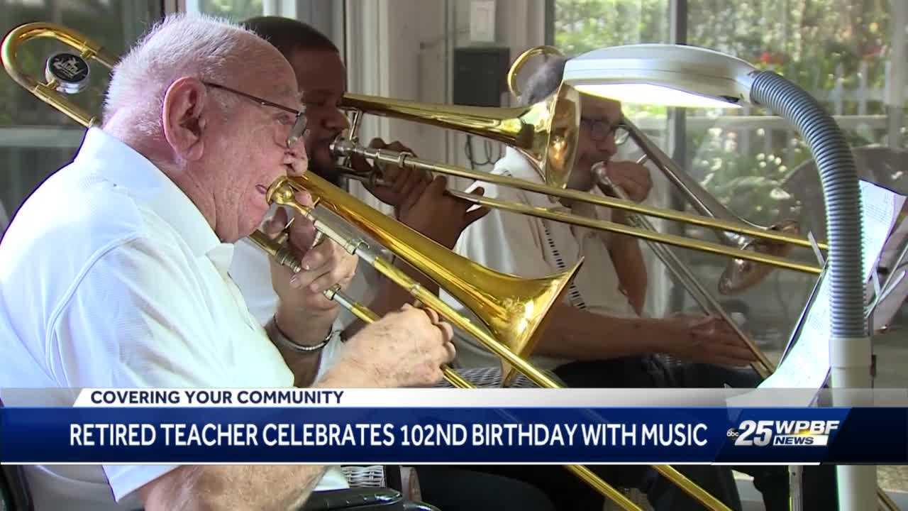 102-year-old man celebrates birthday with trombone trio